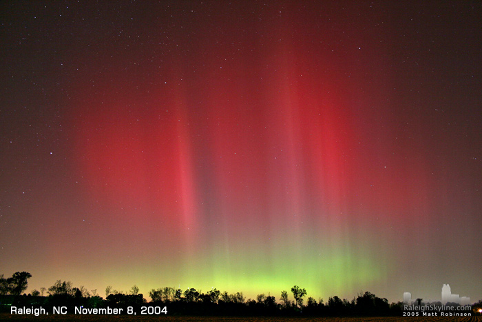 Auroras in Raleigh, NC - November 2004
