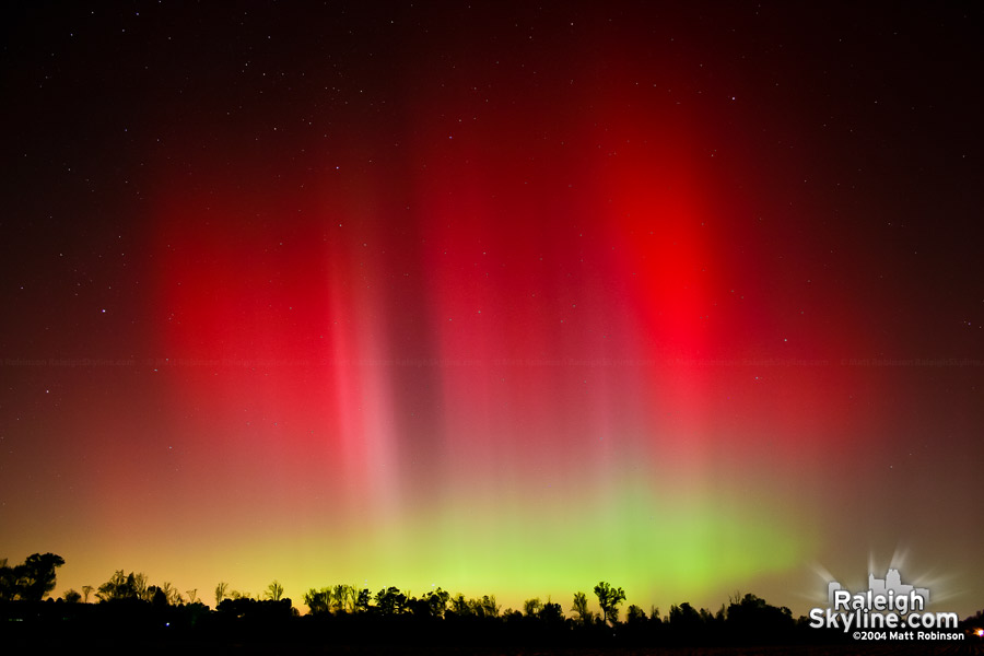 Aurora in the night sky outside Raleigh, North Carolina