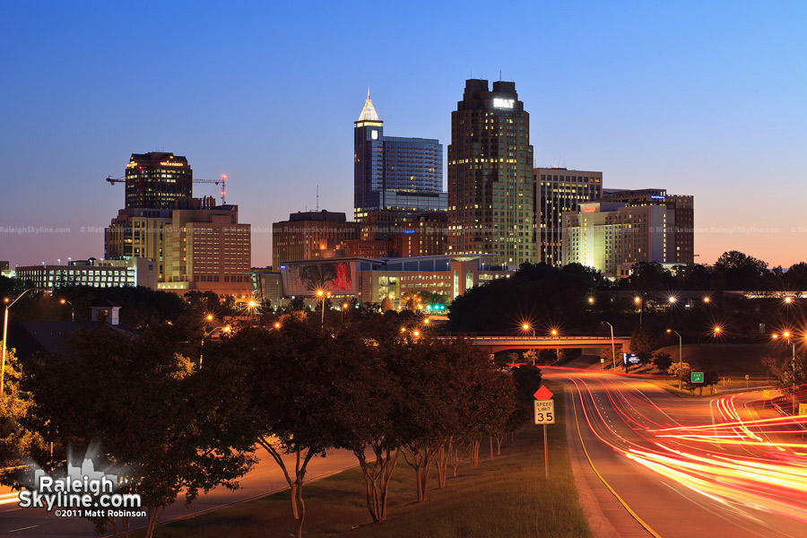 Raleigh Skyline as of 2011 at night