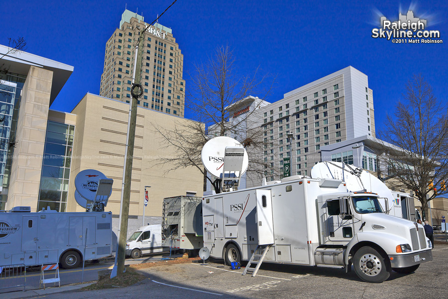 Media sat trucks converge on Downtown Raleigh
