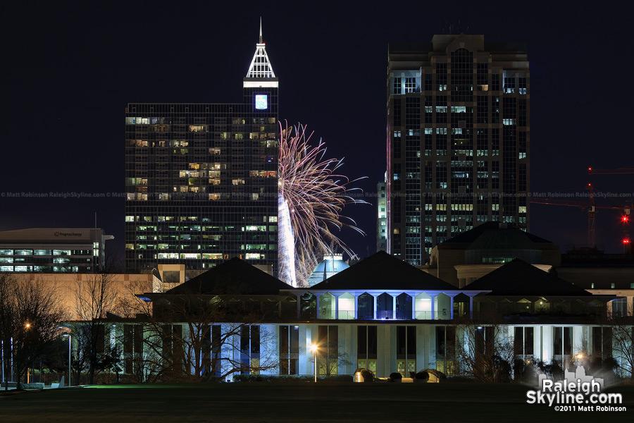 Fireworks between RBC Plaza and Wachovia Capital Center