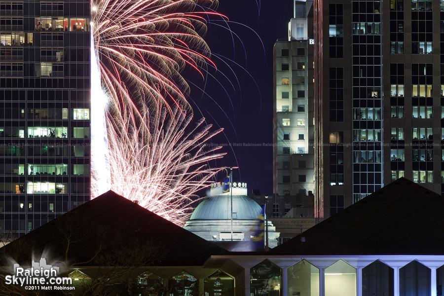 Fireworks over the North Carolina State Capitol