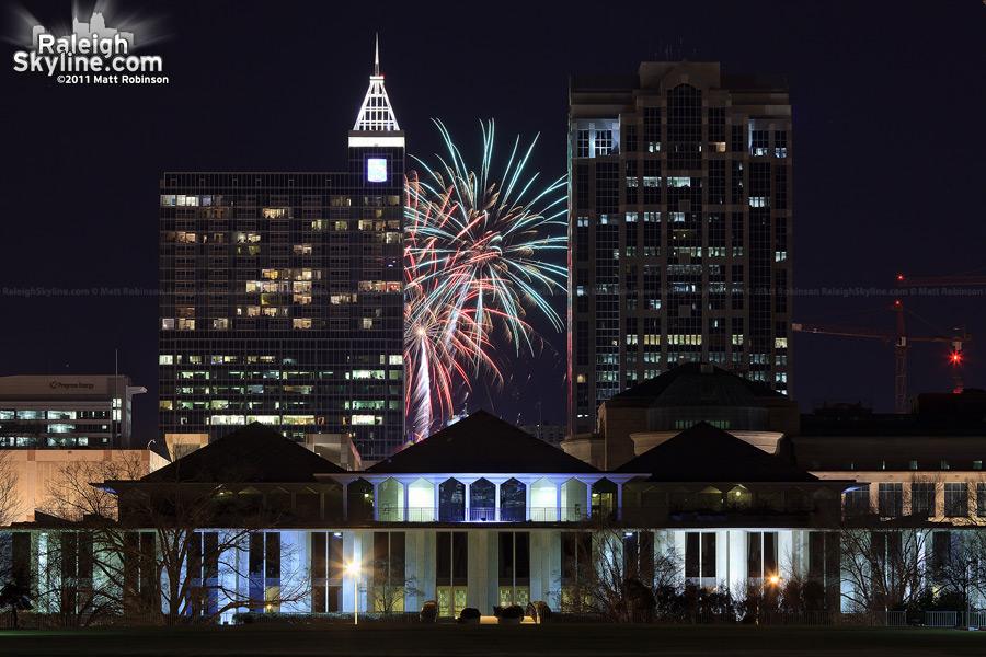 Fireworks behind the Raleigh Skyline, NHL Fan Fair