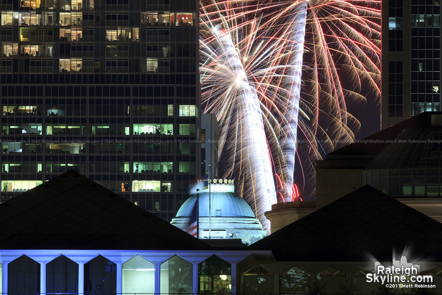 Fireworks stream behind Raleigh's Capitol dome