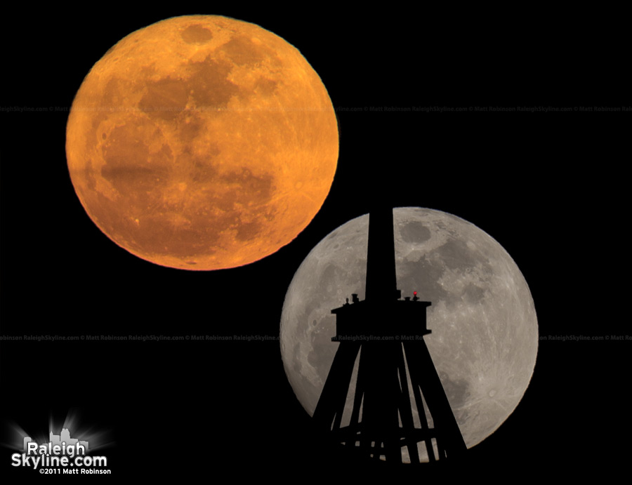 Comparison of the supermoon to a regular moonrise (from April 27, 2010)