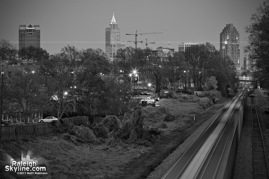 Black and White Raleigh with Train from Ashe Avenue