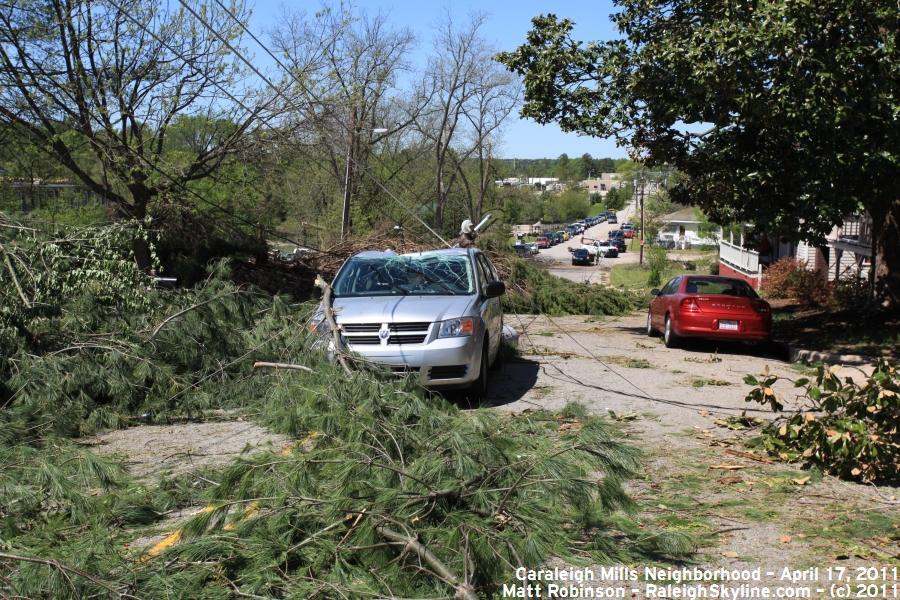 Maywood Avenue tornado damage in Caraleigh Mills