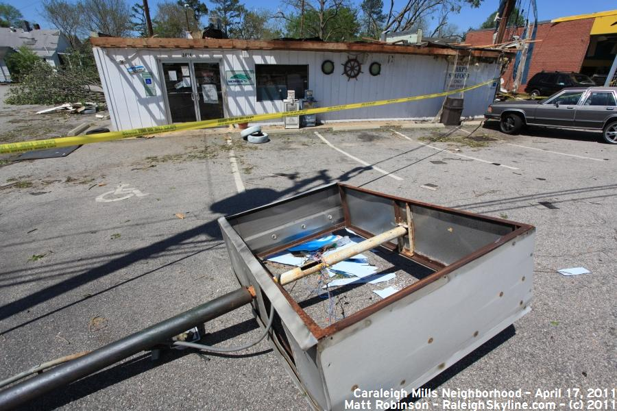 Severe tornado damage to Earp's Seafood on South Saunders