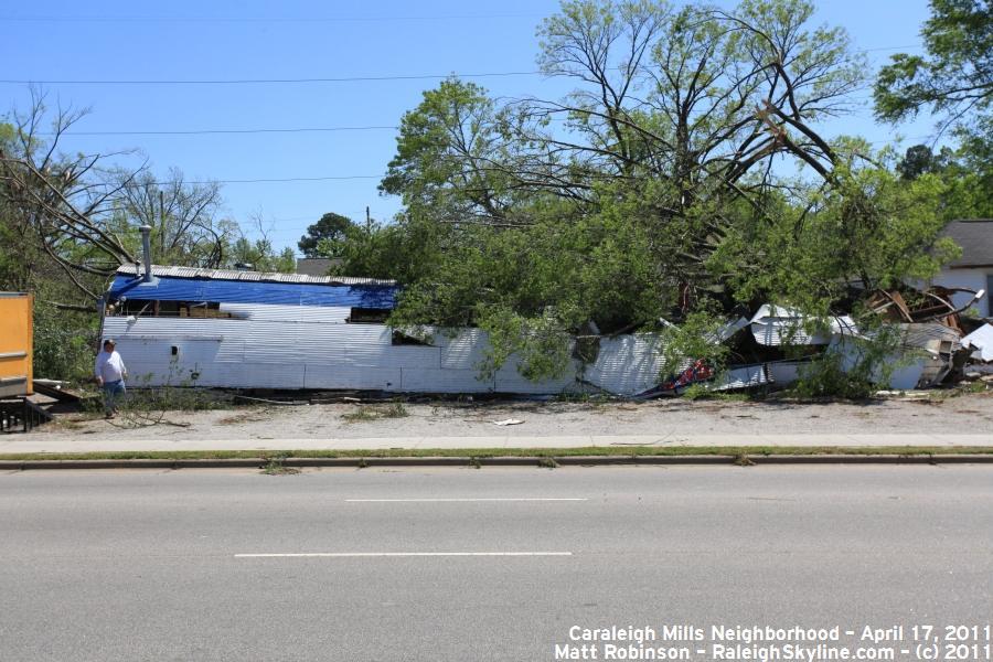 Damage along South Saunders Street