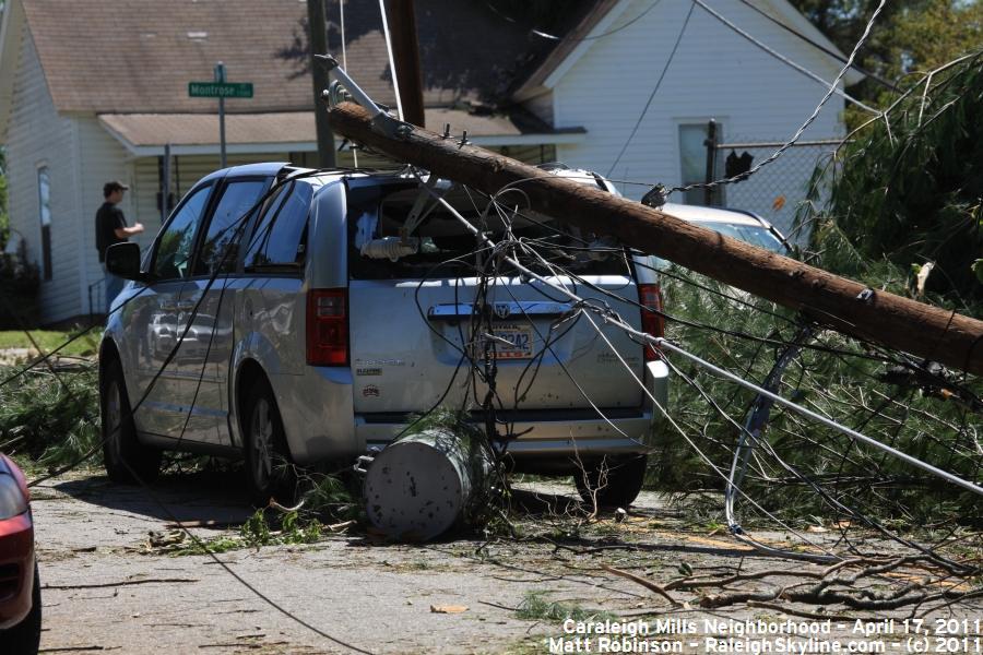 Damaged van from tornado