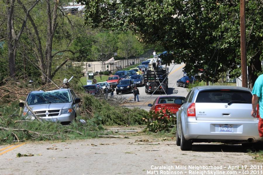 Maywood Avenue in Caraleigh Mills Tornado Damage