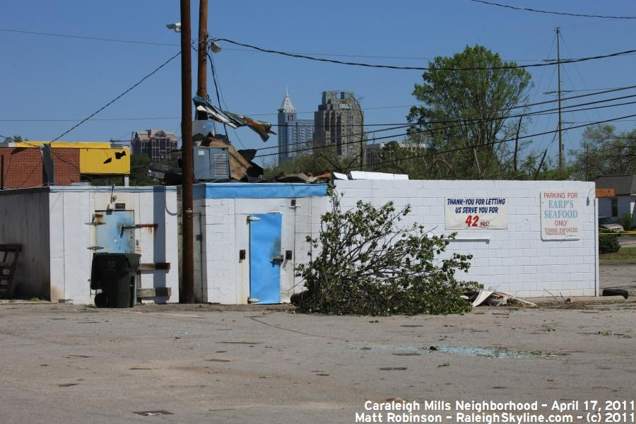 Raleigh Skyline can be seen above the damaged Earp's Seafood building
