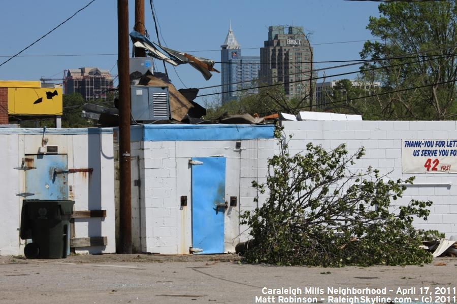 Raleigh Skyline with tornado damage