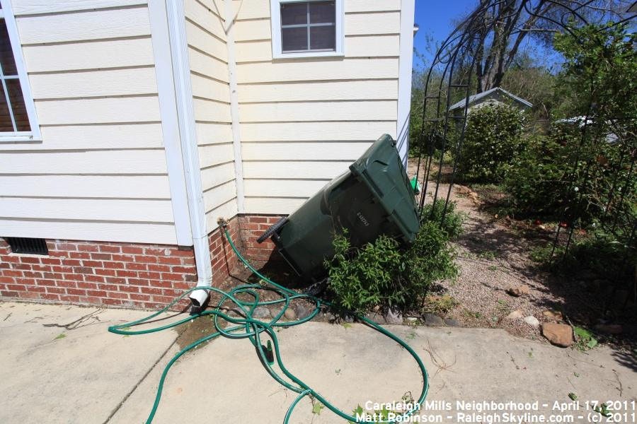 Overturned Raleigh Trash container