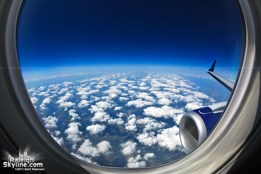 Fisheye out an airplane window somewhere near the Chesapeake Bay