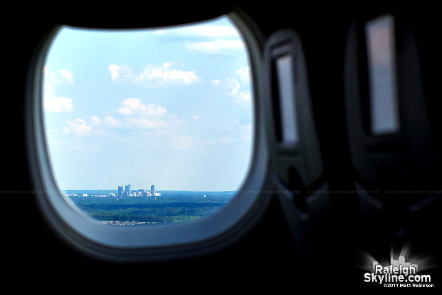 Downtown Raleigh viewed from an airplane window