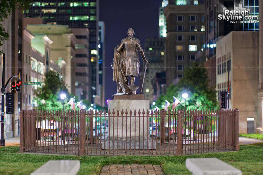 George Washington Statue oversees Fayetteville Street