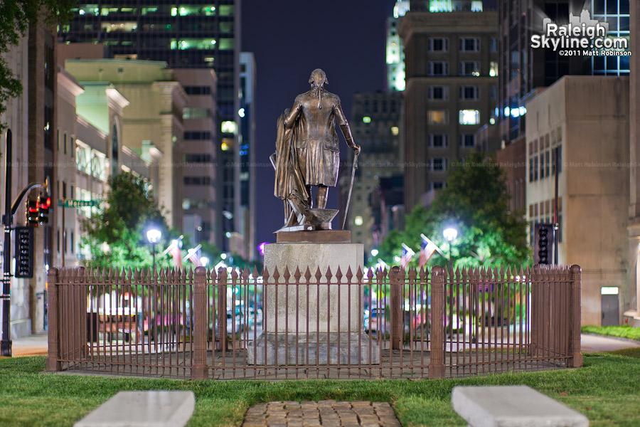 George Washington Statue oversees Fayetteville Street