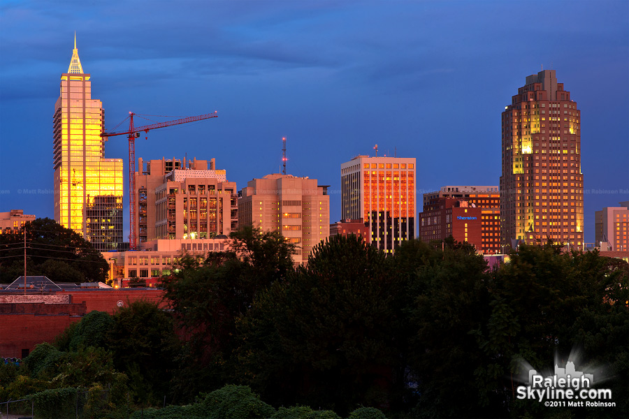 Golden sunset on Downtown Raleigh