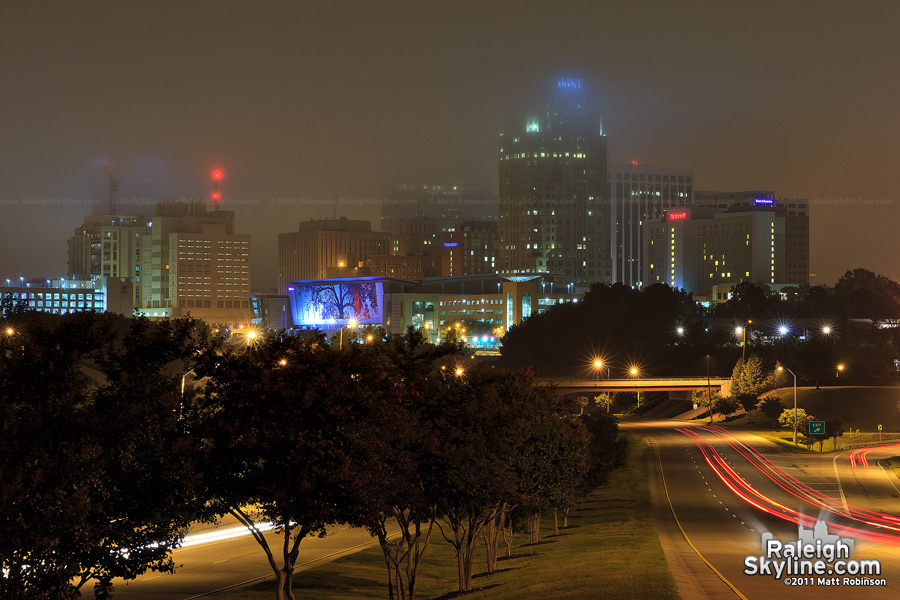 Fog partially obscures the Raleigh Skyline