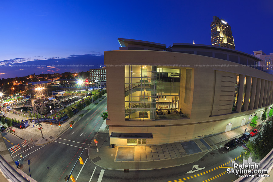 Fisheye of the Raleigh Convention Center and Ampitheater
