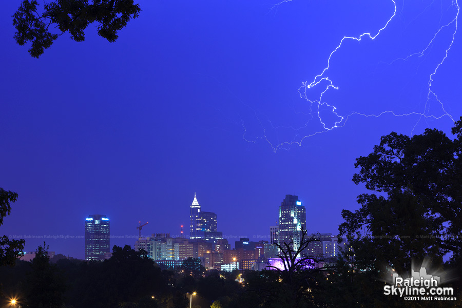 Lightning over the Raleigh Skyline