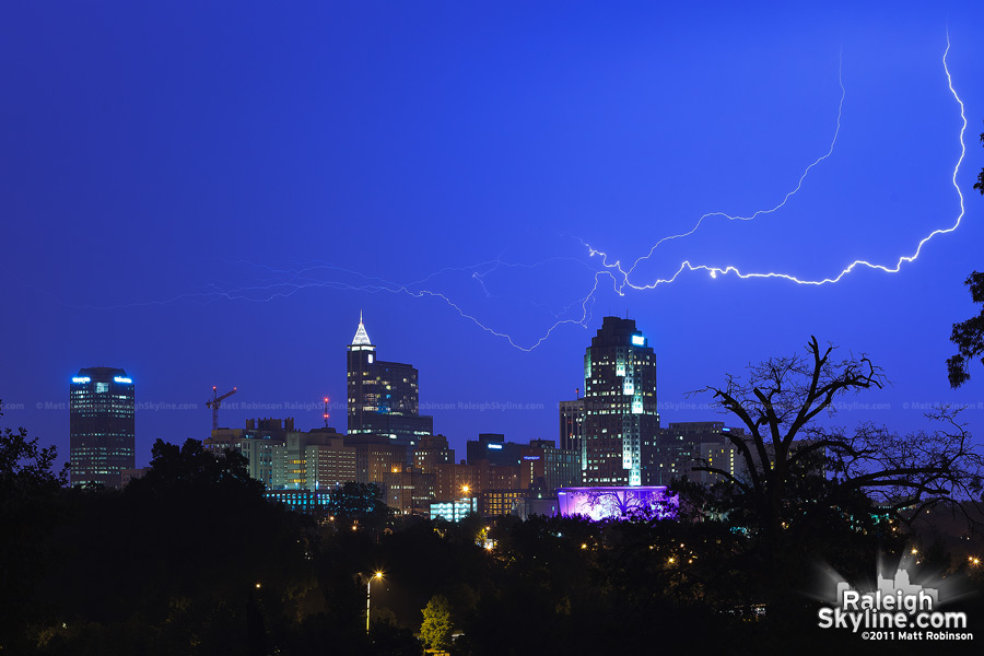 Lightning streaks over Raleigh
