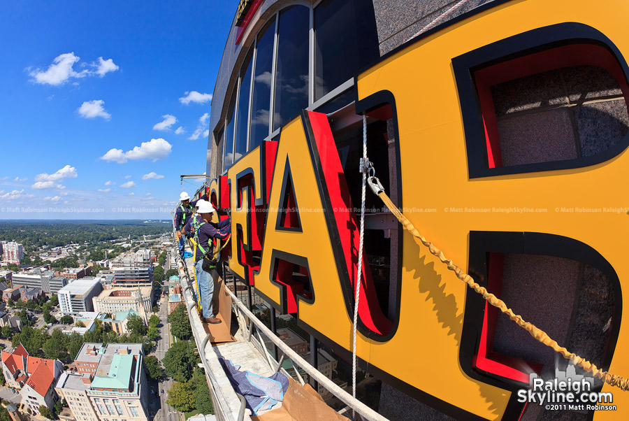 Wells Fargo highwall rooftop signage on downtown Raleigh's third tallest building