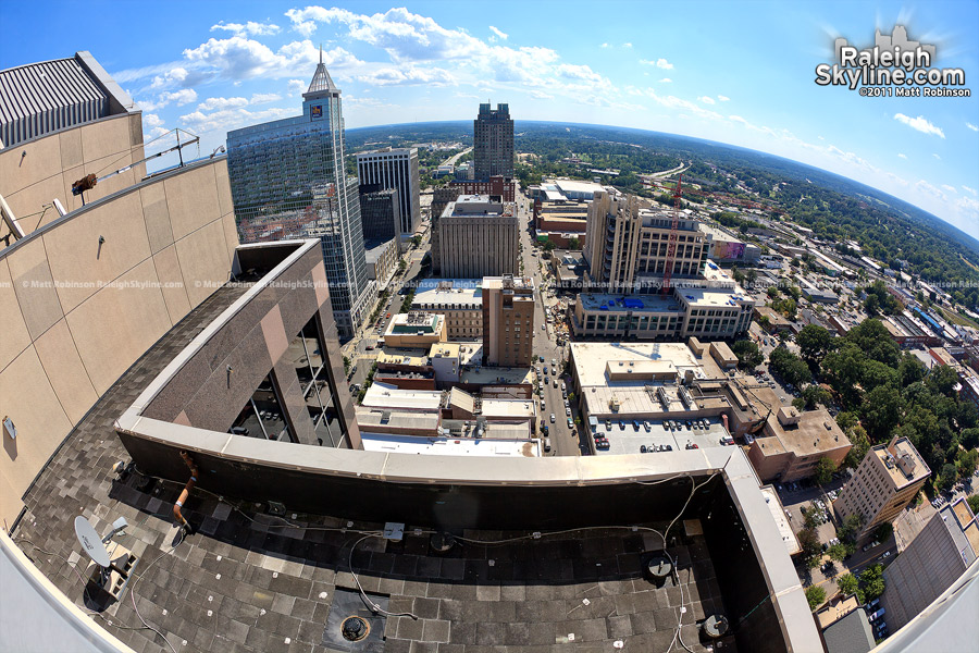 View looking South at downtown Raleigh from the rooftop of Wachovia Capitol Center
