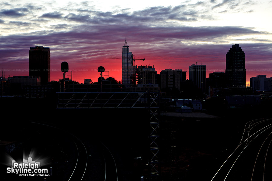 Fall Sunrise behind downtown Raleigh