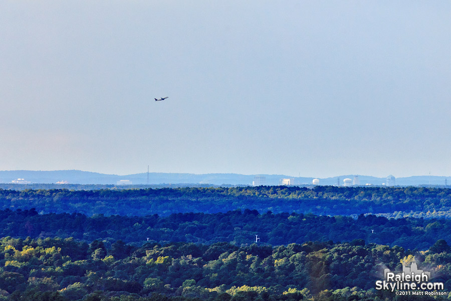 Downtown Durham is visible from Downtown Raleigh, 21 miles as the crow flies