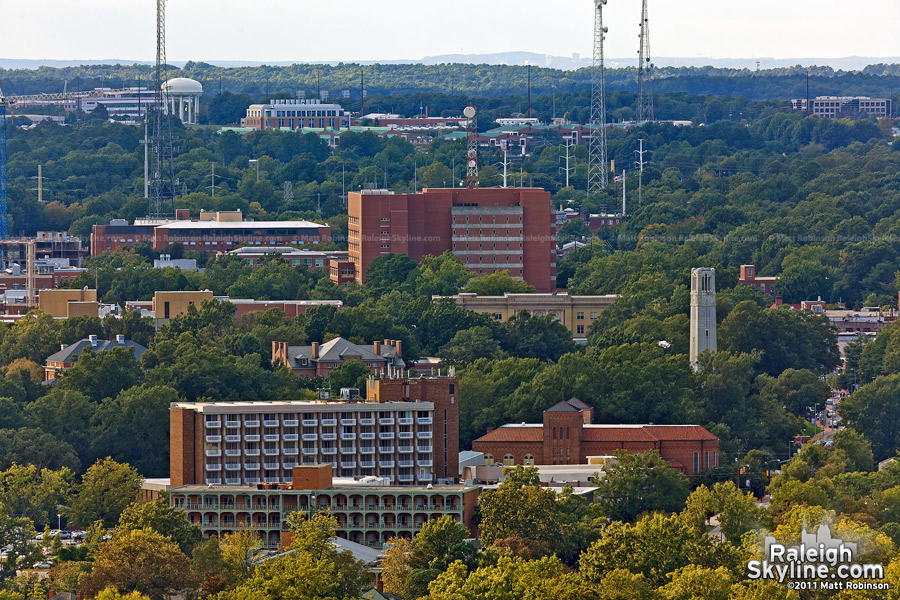 North Carolina State University from Downtown Raleigh