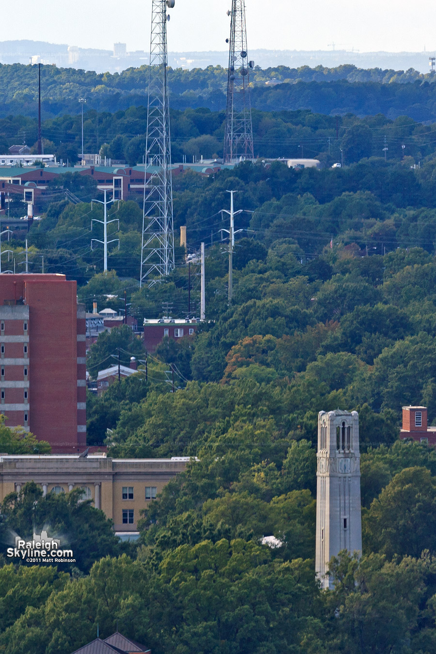 The NC State Belltower...with UNC-Chapel Hill visible 25 miles away on the horizon!