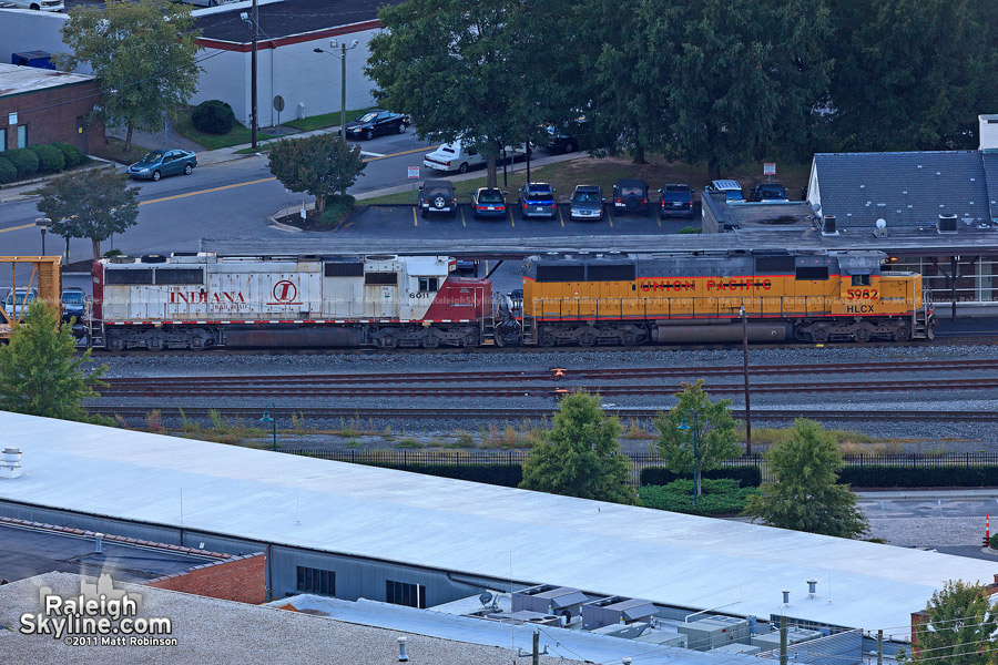Several locomotives far away from their original home: Indiana Railroad and Union Pacific seen in Raleigh