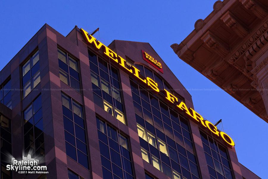 Wells Fargo sign, burning through the night
