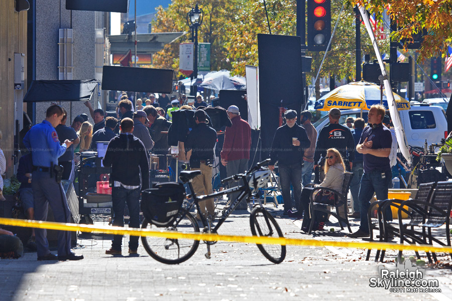 Movie filming on Fayetteville Street in Raleigh