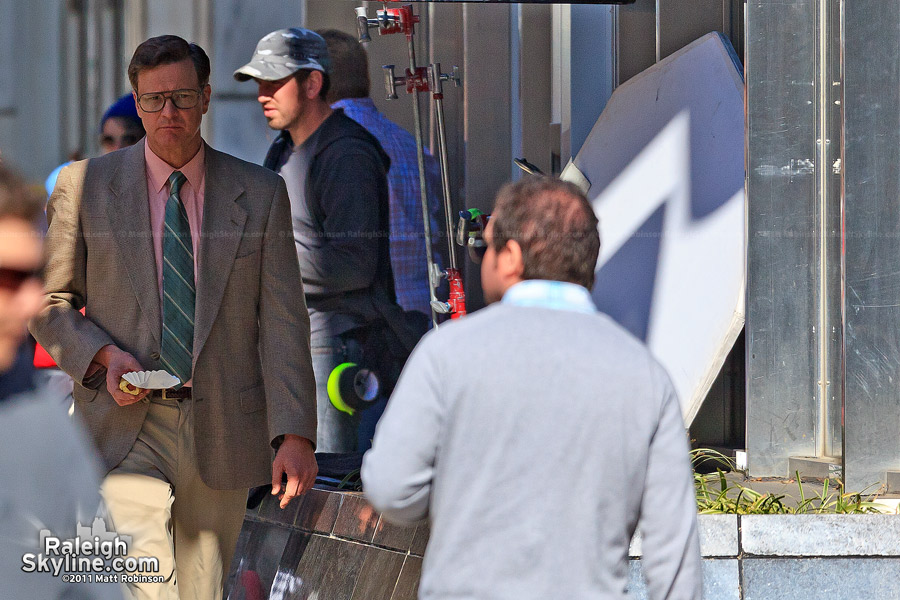 "Colin Firth filming ""Arthur Newman, Golf Pro"" in downtown Raleigh"