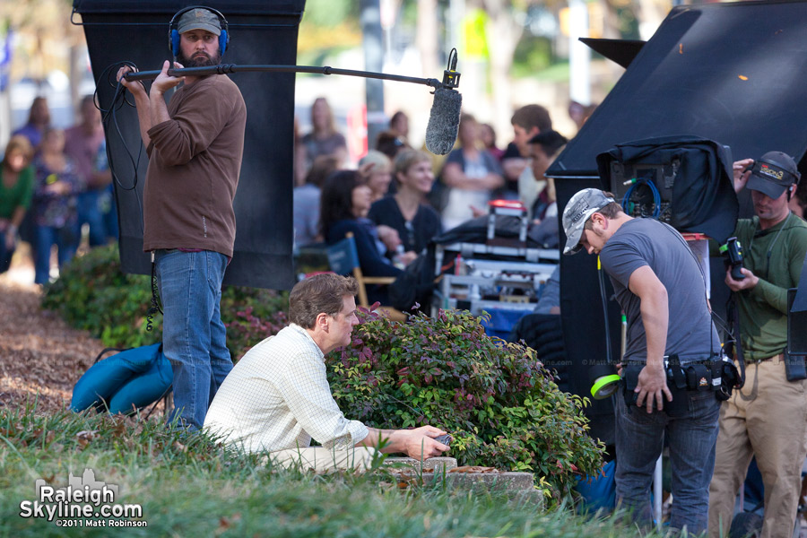Colin Firth and crew filming in Nash Square, Raleigh
