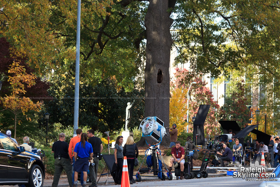 Nash Square fall colors on the set of Arthur Newman, Golf Pro in Raleigh
