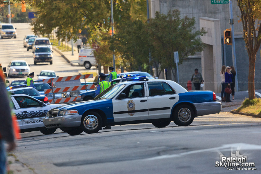 Raleigh Police blocking McDowell Street for the filming