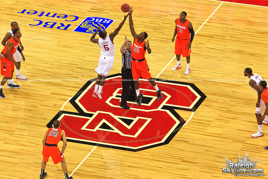 Tip-off against number 1 ranked Syracuse
