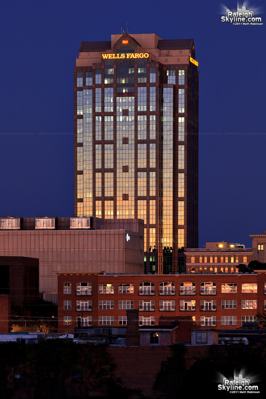 Raleigh's Wells Fargo Capitol Center at sunset