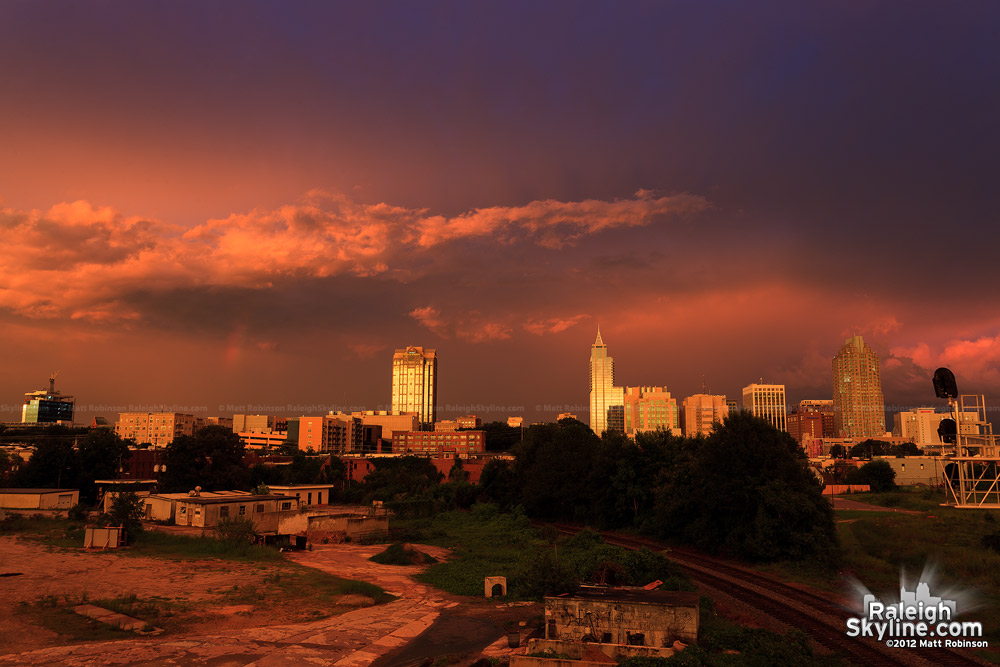 Orange and Purple sunset over Raleigh Skyline
