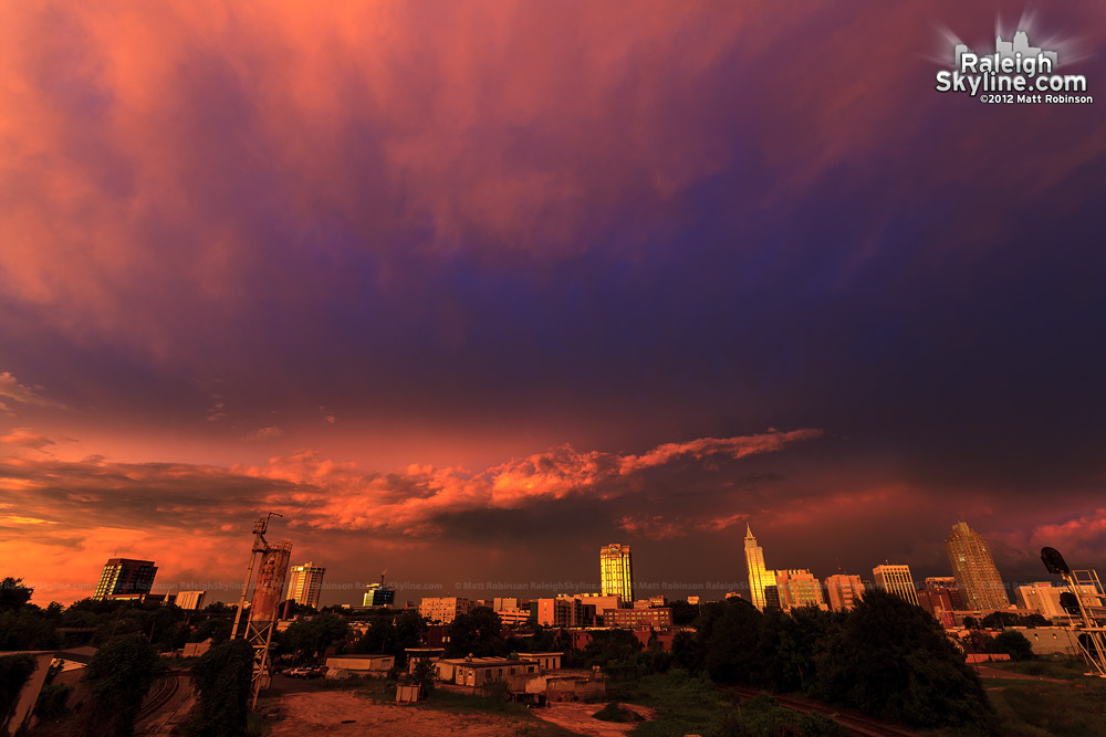 Colorful sky and sunset over downtown Raleigh