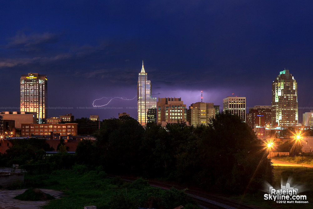 Lightning behind Raleigh from Boylan Avenue