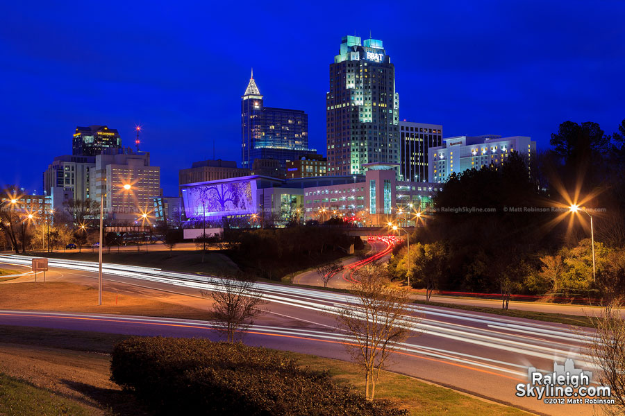 PNC Bank in the new Raleigh Skyline at night