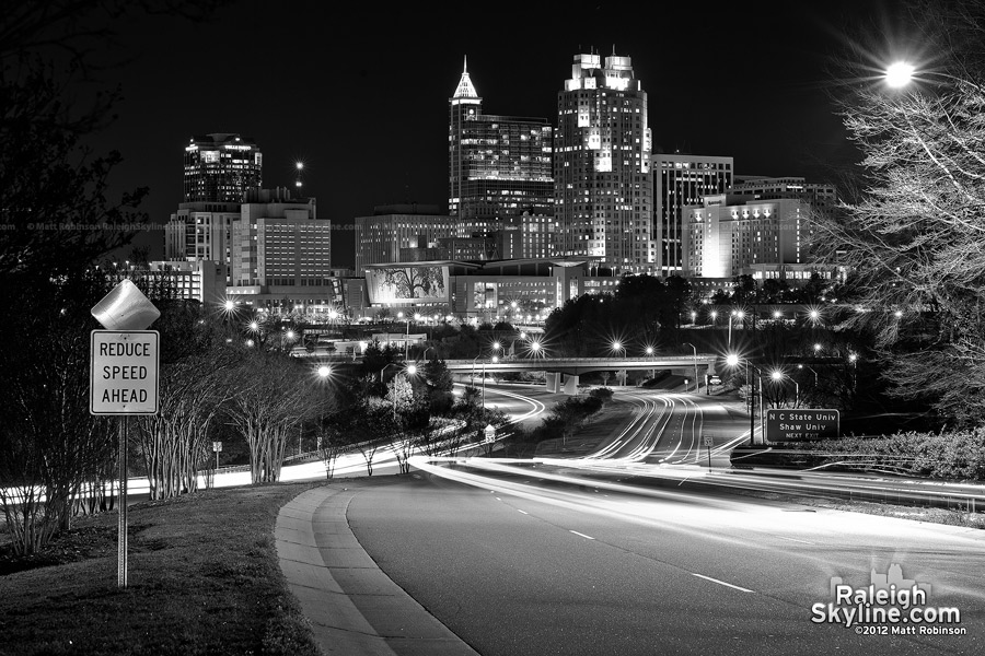 Black and White Raleigh Skyline Feb 12, 2012