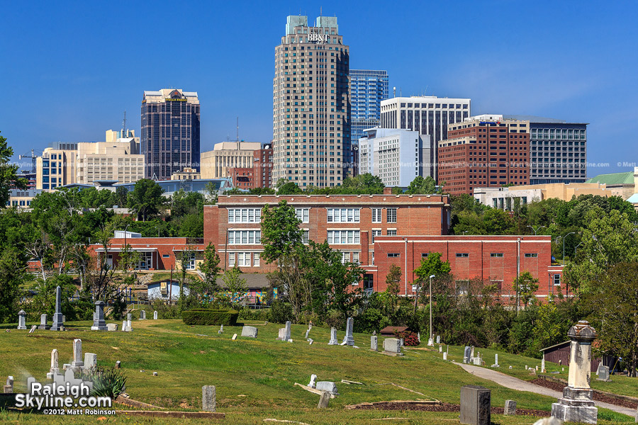 Downtown Raleigh seen from Mt. Hope Cemetery
