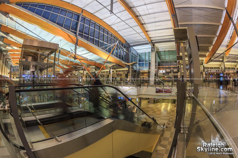 Inside Raleigh Durham International Airport Terminal 2 at night