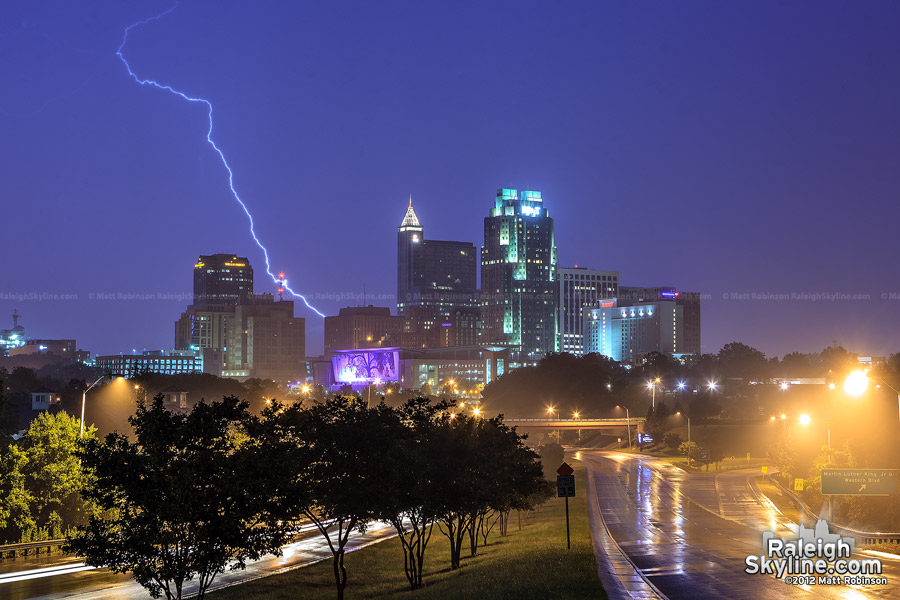 Lightning strikes behind downtown Raleigh